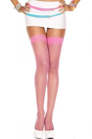 LACE TOP SHEER STOCKINGS PINK