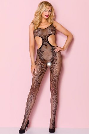CUT OUT CROTCHLESS BODYSTOCKING BLACK