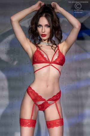BRA SET WITH LEGBANDS RED