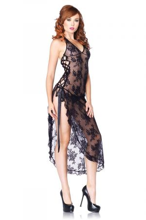 ROSE LACE HIGH SLIT GOWN BLACK