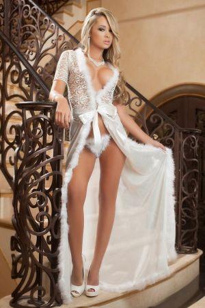 Night Glamour Fur-Trim Gown White
