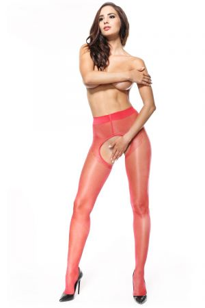 SHINY LINED OPEN CROTCH PANTYHOSE RED