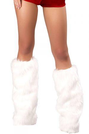 WHITE FURRY LEG WARMERS
